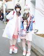 Harajuku Nurses w/ Decora Hair Pins, Gas Mask & Randoseru