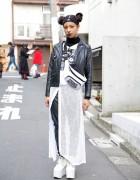 Double Bun Hairstyle, Biker Jacket, Sheer Skirt & Platforms in Harajuku