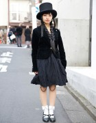 Ball Joint Doll Tights, Top Hat & Velvet Blazer in Harajuku