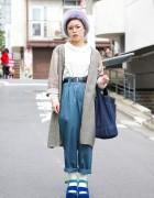 Platform Sandals, High Waist Pants, Glasses & Hat in Harajuku