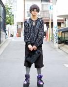 UNIF Galaxy Print Platforms, Hamsa Necklace & Faux Fur Clutch in Harajuku