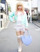 Pegasus Bomber Jacket, Lace Dress & Heart Handbag in Harajuku