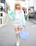 Pegasus Bomber Jacket, Lace Dress & Heart Handbag in Harajuku
