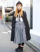 Monochrome Comme des Garcons Look w/ Red Accents & Tokyo Bopper
