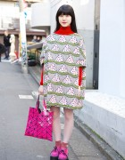 I am I Watermelon Dress & Issey Miyake Bao Bao Bag in Harajuku