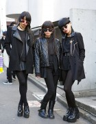 Harajuku Trio in All Black w/ Red Eye Make-up, Chokers, Leather & Boots