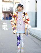Gerlan Jeans Floral Sweatshirt w/ Kinji Jacket, The Circus Harajuku & Tamagotchi