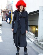 All Black AnkoRock & Algonquins Outfit w/ Red Hat in Harajuku