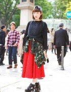Vintage Midi Skirt w/ Camouflage, Kelty Backpack & Merci Ankle Boots