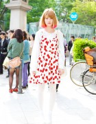 Pink Hair Tips, Spinns Cherry Print Dress & Nadia Harajuku Tote