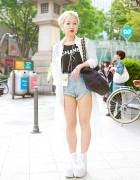 """""""Chanel Loves Me"""" T-Shirt, Sheer Top & Cutout Platforms in Harajuku"""