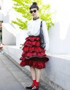 Tricot Comme des Garcons Ruffle Skirt, Unbilical Flats & Mykita Sunglasses in Harajuku