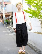 Short Bangs Hairstyle, Geta Sandals & Suspenders in Harajuku