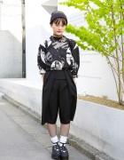 Audrey Hepburn Shirt, Eyeball Ring, Fishnets & Tokyo Bopper in Harajuku