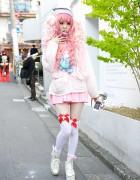 Pink Hair, Pink Fashion, Amazing Nails & Knee Socks in Harajuku