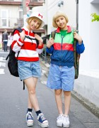 Twin Harajuku Models in Platform Sneakers w/ Spinns, WEGO, Chicago & Canadian Flag