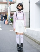 Harajuku Girl in Spinns Lace Top & WEGO Suspender Skirt