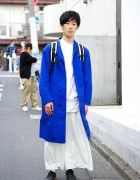 Harajuku Guy in White w/ Blue Beams Trench & Gerry Backpack