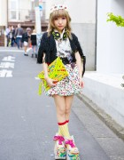 Harajuku Girl w/ Painted Clutch, Buffalo Platforms & Cherries