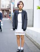 Lilac Hair, Growze Sheer Inset Skirt & Platform Loafers in Harajuku