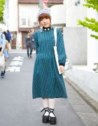 Resale Plaid Dress w/ Opening Ceremony Tote & Tokyo Bopper Platform Shoes