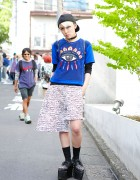 KTZ Eye Shirt, Monomania Shorts & Spike Platforms in Harajuku
