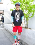 Harajuku Guy w/ Rainbow Hair, Glasses, Gameboy, Cute Earrings & Colorful Socks