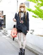 Grimoire Tokyo Skirt w/ Bunkaya Zakkaten Doll Face Bag & Tokyo Bopper Platforms