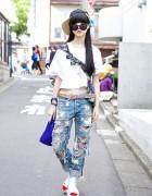 I Tokyo Me Crop Top w/ RNA Ripped Jeans, Bao Bao Clutch & Sandals