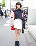 I Tokyo Me Crop Top, American Apparel Skirt & Dr. Martens in Harajuku
