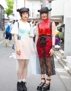 Harajuku Girls w/ Twin Buns, Sheer Skirts, Cheongsam & Platforms