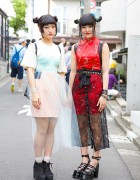 Harajuku Girls w/ Twin Buns, Sheer Skirts, Cheongsam & Platforms