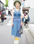 Denim Bustier, Comme des Garcons Skirt & Tokyo Bopper in Harajuku