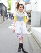 Sheer Dress Over Punk Cake Top & Dr. Martens Sandals in Harajuku