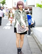 Lilac Bob Hair w/ Camouflage Print & Loafers in Harajuku