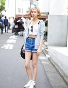 Pastel Hair w/ High Waist Denim Shorts, Crop Top & Fila Bag in Harajuku