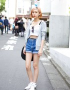 Pastel Hair w/ High Waist Denim Shorts, Crop Top & Fila Bag in Harajuku