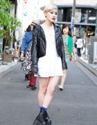 Stussy Women Biker Jacket, H&M Dress & Eastpak Rucksack in Harajuku