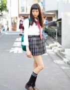 Cute Japanese School Uniform w/ Plaid Skirt, Red Tie & Loafers