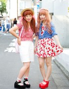 Harajuku Cute Styles w/ Gingham, Cherry Print, Strawberries & Flowers