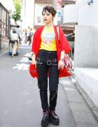Dragon Jacket w/ Jimsinn Jeans & Yosuke Platforms in Harajuku