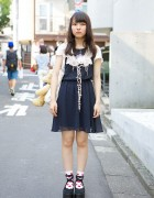 H&M Dress w/ Crochet Collar, Teddy Bear & Tokyo Bopper in Harajuku