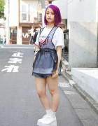 Purple Hair w/ Bubbles Harajuku Sheer Top & i Tokyo Me Platforms