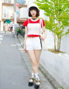 Jouetie Bustier Over T-Shirt, Style Icon Tokyo Socks & Platform Sandals