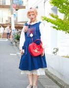 Pink Braided Hair w/ Resale Layered Dresses & Vivienne Westwood Heart Bag in Harajuku