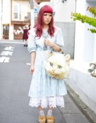 Gunne Sax Dress, Ahcahcum Muchacha Cat Bag & Justin Davis in Harajuku