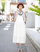 Harajuku Girl w/ Glasses, Maxi Dress, Globe Hope Bag & Patrick Sneakers