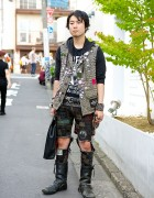 Crust Punk Patch Pants, Disk Union Bag & Studded Vest in Harajuku