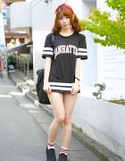 Harajuku Girl w/ Twin Tails & Bandana, Sports Jersey Dress & Slip-Ons