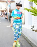 Kinji Harajuku Resale Style w/ Colorful Top, Globe Pants & Spinns Platforms